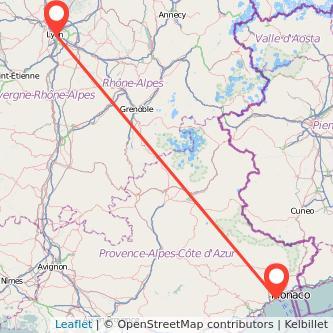 Mapa del viaje Lyon Niza en bus