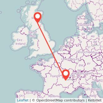 Lyon Edinburgh train map