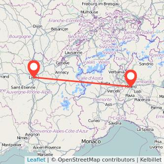 Mapa del viaje Lyon Milan en bus
