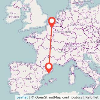 Mapa del viaje Lille Barcelona en bus