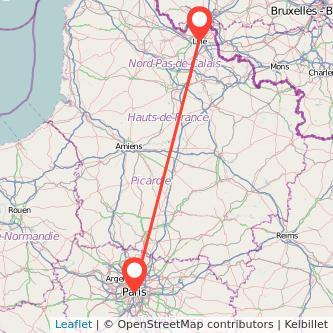 Mapa del viaje Lille París en bus