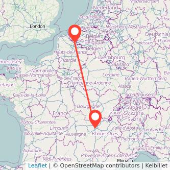 Lille Lyon train map