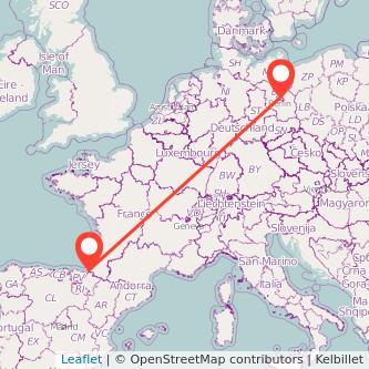 Mapa del viaje Hendaya Berlín en tren