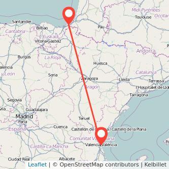 Mapa del viaje Hendaya Valencia en tren