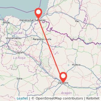 Mapa del viaje Hendaya Zaragoza en tren