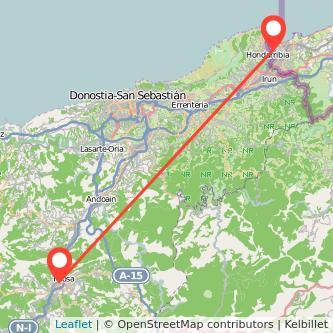 Mapa del viaje Hendaya Tolosa en tren