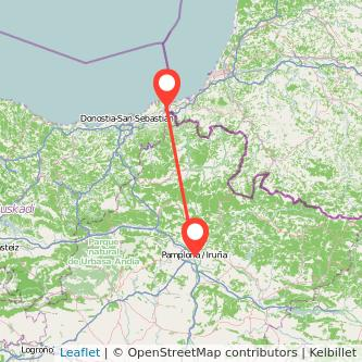 Mapa del viaje Hendaya Pamplona en tren