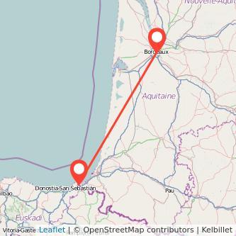 Mapa del viaje Hendaya Burdeos en tren