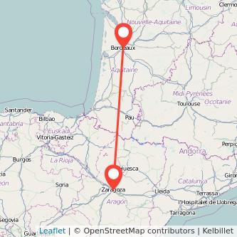 Mapa del viaje Burdeos Zaragoza en bus