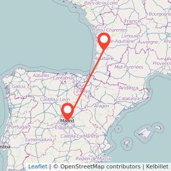Mapa del viaje Burdeos Madrid en bus