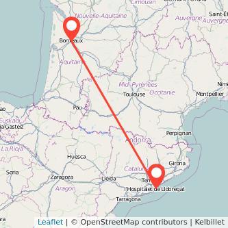 Mapa del viaje Burdeos Barcelona en bus