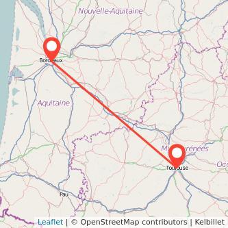 Mapa del viaje Burdeos Toulouse en bus