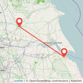 York Grimsby train map