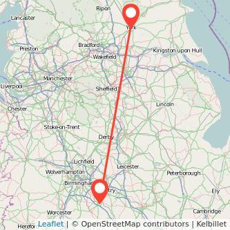 York Warwick train map