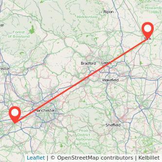 York Warrington train map