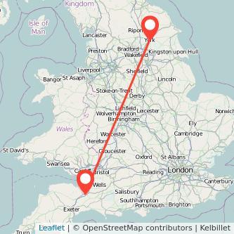 York Taunton train map