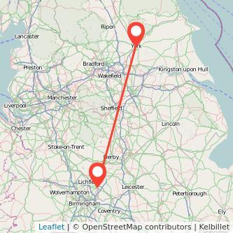 York Tamworth train map