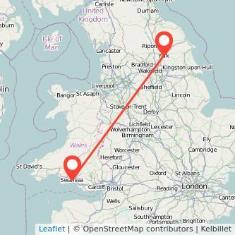 York Swansea train map