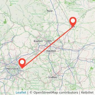 York Stalybridge train map