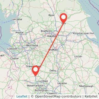 York Stafford train map