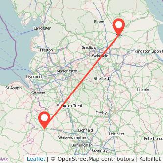 York Shrewsbury train map
