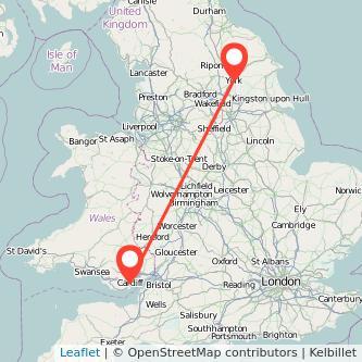 York Cardiff train map