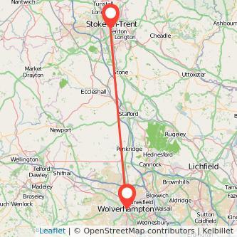 Wolverhampton Stoke-on-Trent train map