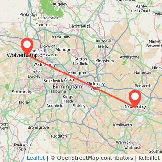 Wolverhampton Coventry train map