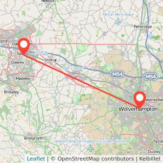 Wolverhampton Telford bus map