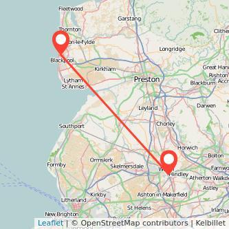 Wigan Blackpool train map
