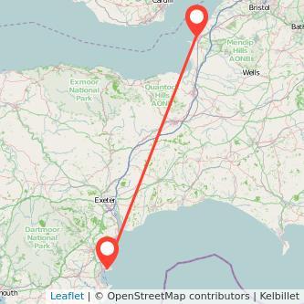 Weston-super-Mare Torquay train map
