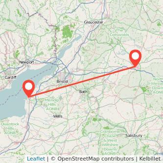 Weston-super-Mare Swindon train map