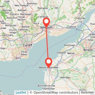 Weston-super-Mare Newport train map