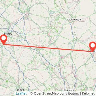 Warwick Cambridge train map