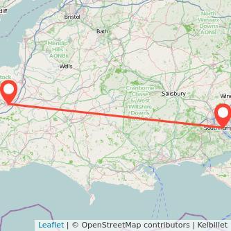 Taunton Southampton train map
