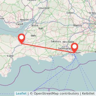 Taunton Portsmouth train map