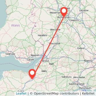 Taunton Birmingham train map