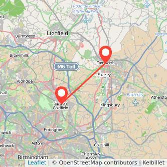 Tamworth Sutton Coldfield train map