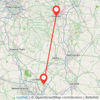 Tamworth Sheffield train map