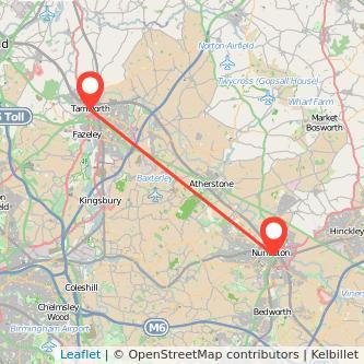 Tamworth Nuneaton train map