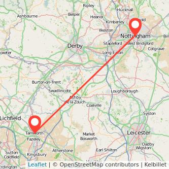Tamworth Nottingham train map