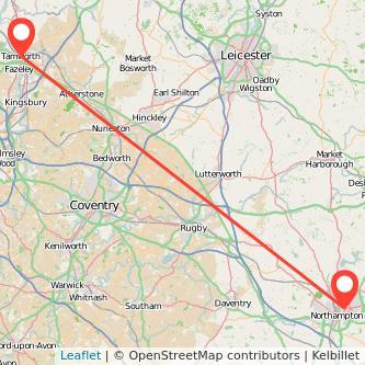 Tamworth Northampton train map