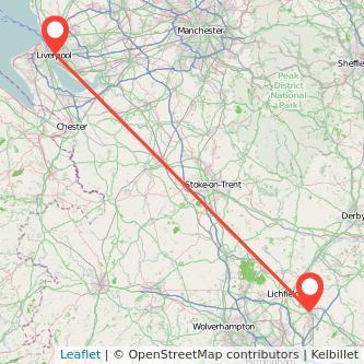 Tamworth Liverpool train map