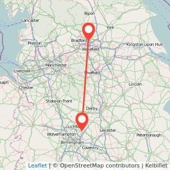 Tamworth Leeds train map
