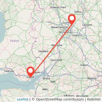 Tamworth Cardiff train map