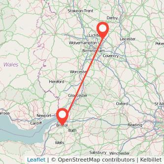 Tamworth Bristol train map