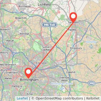 Tamworth Birmingham train map