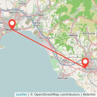 Swansea Bridgend bus map
