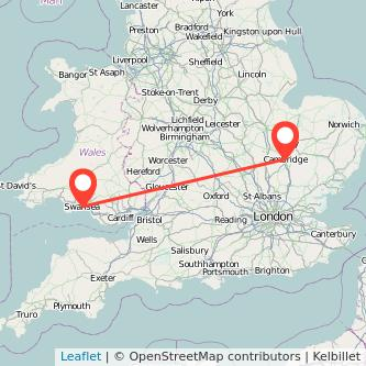 Swansea Cambridge train map