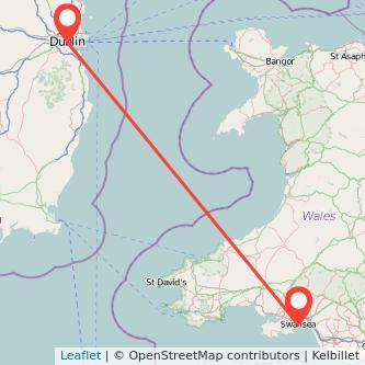 Swansea Dublin flight map